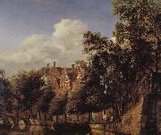Jan van der Heyden Canal scenery gentleman china oil painting reproduction