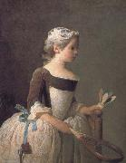 Jean Baptiste Simeon Chardin Girl holding a badminton china oil painting reproduction