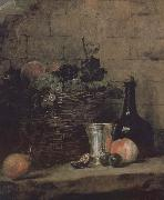 Jean Baptiste Simeon Chardin Silver wine bottle grapes peaches plums and pears china oil painting reproduction