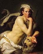 Johann Zoffany Self portrait as David with the head of Goliath, china oil painting reproduction