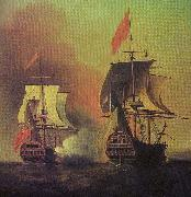 Samuel Scott Capture of the Spanish Galleon Nuestra Senora de Cavagonda by the British ship Centurion during the Anson Expedition china oil painting reproduction