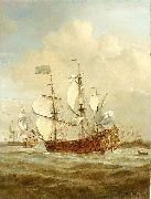 VELDE, Willem van de, the Younger HMS St Andrew at sea in a moderate breeze, painted china oil painting reproduction