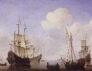 VELDE, Willem van de, the Younger Ships riding quietly at anchor china oil painting reproduction