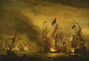 VELDE, Willem van de, the Younger The burning of the Royal James at the Battle of Solebay china oil painting reproduction