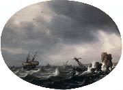 VLIEGER, Simon de Stormy Sea - Oil on wood china oil painting reproduction