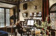 puccini puccini at home in the music room of his villa at torre del lago china oil painting reproduction