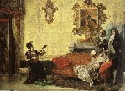 Jacob Maentel Women take part in the Spanish guitar her a small audience at home. china oil painting reproduction