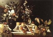 unknow artist A Table Laden with Flowers and Fruit china oil painting reproduction
