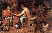 Adriaen Brouwer The Card Players oil