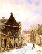 Adrianus Eversen A Village Street Scene in Winter china oil painting reproduction