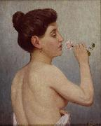 Alfred Hirv Nude with a rose china oil painting reproduction