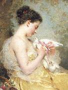 Charles Joshua Chaplin A Beauty with Doves china oil painting reproduction