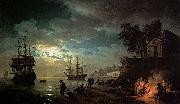 Claude-joseph Vernet Seaport by Moonlight china oil painting reproduction