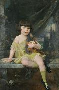 Douglas Volk Young Girl in Yellow Dress Holding her Doll, china oil painting reproduction