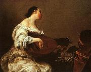 Giuseppe Maria Crespi Frau spielt Laute china oil painting reproduction