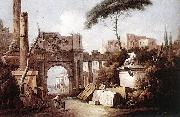 Giuseppe Zais Ancient Ruins with a Great Arch and a Column china oil painting reproduction