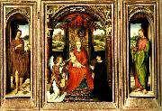 Hans Memling madonnan med barnet tronande med angel och donator china oil painting reproduction