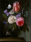 Jan Philip van Thielen Roses and a Tulip in a Glass Vase. china oil painting reproduction