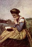 Jean-Baptiste-Camille Corot Lesende Frau china oil painting reproduction