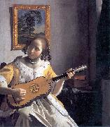 Johannes Vermeer Youg woman playing a guitar china oil painting reproduction