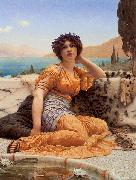 John William Godward With Violets Wreathed and Robe of Saffron Hue china oil painting reproduction