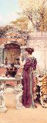 John William Godward At the Garden Shrine, Pompeii china oil painting reproduction