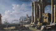 Leonardo Coccorante A capriccio of architectural ruins with a seascape beyond china oil painting reproduction