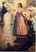 Lord Frederic Leighton A Girl Feeding Peacocks china oil painting reproduction