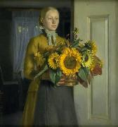 Michael Ancher A Girl with Sunflowers china oil painting reproduction