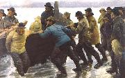 Michael Ancher Fishermen setting a rowing boat ashore china oil painting reproduction
