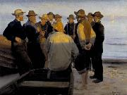 Michael Ancher Fishermen by the Sea on a Summer Evening china oil painting reproduction