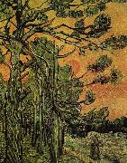 Vincent Van Gogh Palm Trees against a Red Sky with Setting Sun china oil painting reproduction