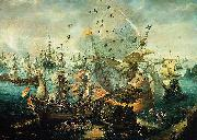 WIERINGEN, Cornelis Claesz van explosion of the Spanish flagship during the Battle of Gibraltar china oil painting reproduction