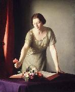 William McGregor Paxton Girl Arranging Flowers china oil painting reproduction