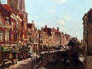 unknow artist Townsfolk shopping along the Oudegracht, Utrecht, The Netherlands china oil painting reproduction
