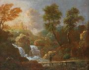 unknow artist Landschap figuur op een brug bij een waterval china oil painting reproduction