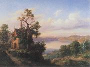 unknow artist Landscape with a lake and a gothic church china oil painting reproduction