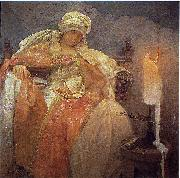 Alfons Mucha Woman With a Burning Candle oil