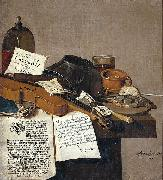 Anthonie Leemans Still life with a copy of De Waere Mercurius, a broadsheet with the news of Tromp's victory over three English ships on 28 June 1639, and a poem telli oil