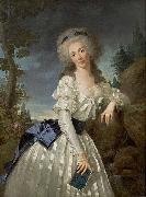 Antoine Vestier Portrait of a Lady with a Book, Next to a River Source oil