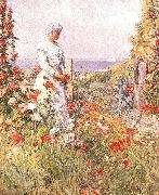 Childe Hassam Thaxter in Her Garden oil painting picture wholesale