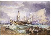 Clarkson Frederick Stanfield H.M.S 'Victory' towed into Gibraltar, china oil painting reproduction