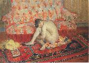 Henri Lebasque Prints Nude on Red Carpet, china oil painting reproduction