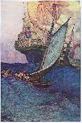 Howard Pyle An Attack on a Galleon: illustration of pirates approaching a ship china oil painting reproduction