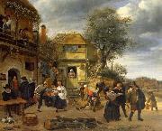 Jan Steen Peasants before an Inn china oil painting reproduction