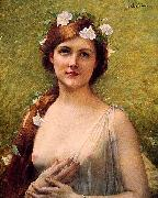 Jules Joseph Lefebvre Young Woman with Morning Glories in Her Hair china oil painting reproduction
