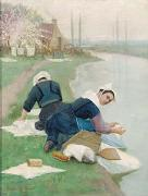 Lionel Walden Women Washing Laundry on a River Bank, oil painting by Lionel Walden china oil painting reproduction