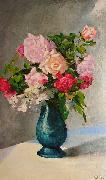 Oskar Schlemmer A vase of gladiolus and dalias. oil painting picture wholesale