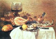 Pieter Claesz A ham a herring oysters a lemon bread onions grapes oil painting picture wholesale