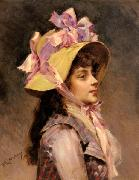 Raimundo Madrazo Portrait Of A Lady In Pink Ribbons china oil painting reproduction